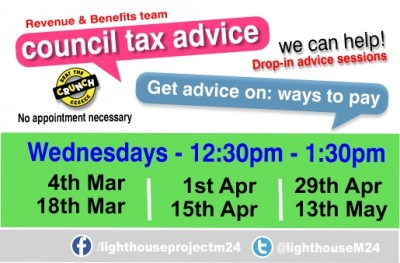 RMBC Council Tax help drop-in poster Mar - May header img v1